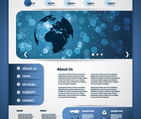 Blue theme website template 1 vector