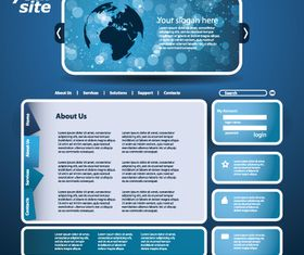 Blue theme website template 2 vector