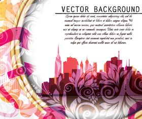 City silhouette floral background vector