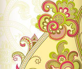 Color retro floral 1 vector graphic