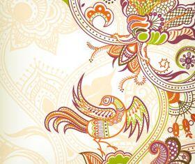 Color retro floral 2 vector