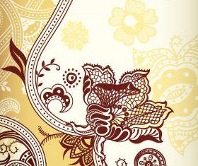 Color retro floral 3 shiny vector