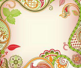 Color retro floral 4 vector