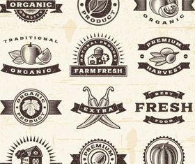 Natural food labels 2 set vector