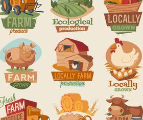 Natural food labels 3 set vector