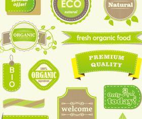 Natural food labels 4 set vector