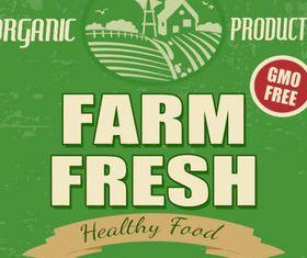Natural food labels 5 set vector