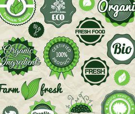 Natural food labels 6 set vector