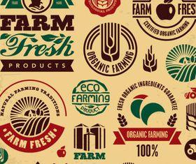 Natural food labels 7 set vector
