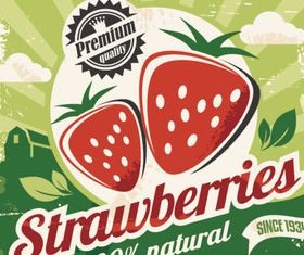 Natural food labels 8 set vector