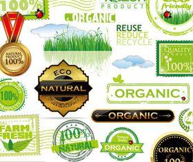 Eco natural labels 1 vector