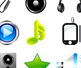 Bright Music Icons art vectors graphics