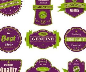 Purple Quality Labels vector