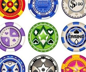 Casino Various Chips vector