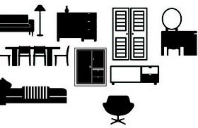 Furniture silhouette vector