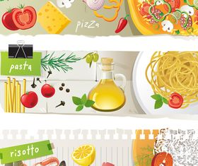 Food banner vector set