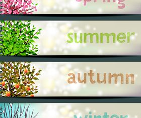 Four seasons banner set vector