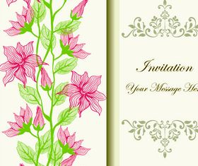Hand drawn flower invitation cards vector
