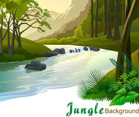 Cartoon jungle background 01 vector