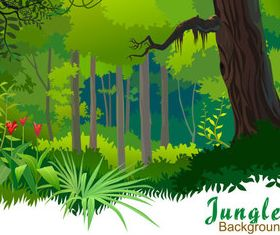 Cartoon jungle background 02 vector