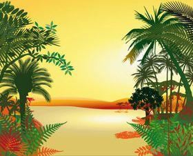 Cartoon jungle background 04 vector