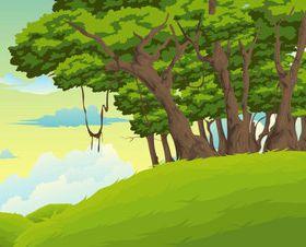 Cartoon jungle background 07 vector