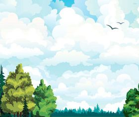 Cartoon jungle background 08 vector