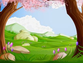 Cartoon jungle background 10 vector