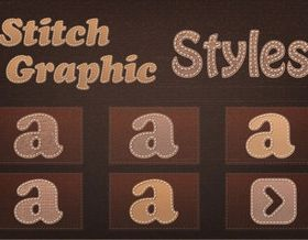 Stitch style alphabet set vector