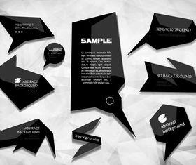 Black origami speak bubbles 1 vector
