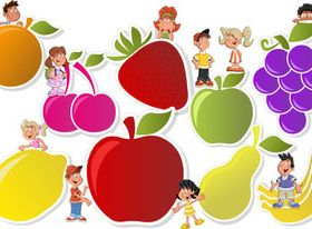 Child with fruit vectors graphic