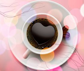 Romantic heart-shaped coffee vector
