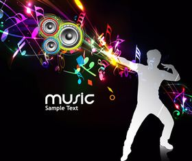 Dynamic music style template 3 vectors