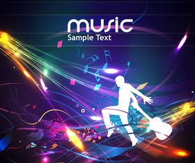 Dynamic music style template 4 vector