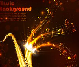 Golden music style background 2 vector