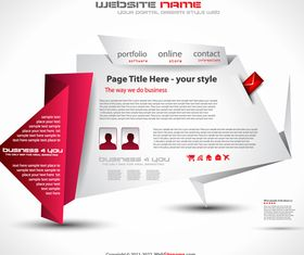 Origami style website template 2 vector