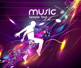 Dynamic music style template 1 vector