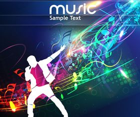 Dynamic music style template 2 vector