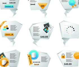 Price Origami labels 2 vector