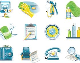 Clean icons vector graphics