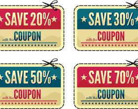 Retro offer labels shiny vector