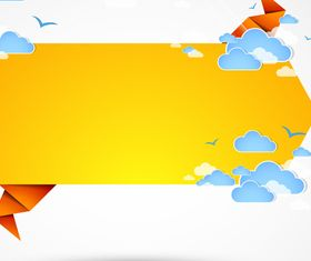Origami and Cloud background 3 vector