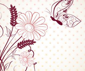 Draw cartoon flower background 4 vector
