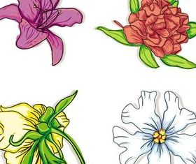 Different Shiny Flowers vector