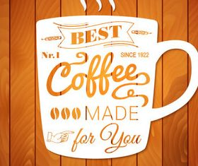 Coffee with wooden background vector design