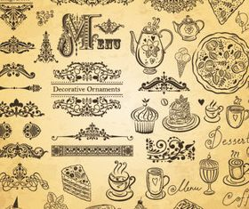 Hand drawn elements food 01 vector