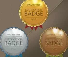 Gold award badge vectors graphics