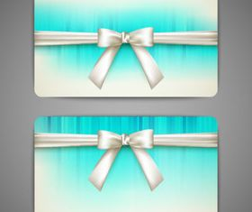 Bow cards 3 set vector