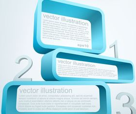 3D rectangle text boxes background vector