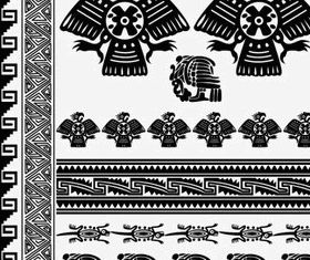 Egyptian style floral pattern 3 vector